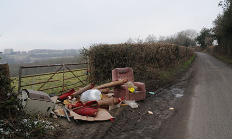 fly tipping site in country